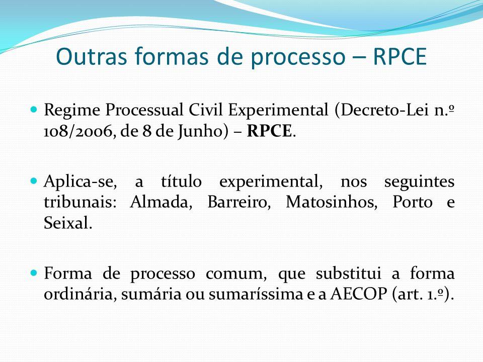 Regime subsidiário – AECOP e RPCE Artigo 463.º, n.º 1, do CPC – aplicação subsidiária do processo ordinário.