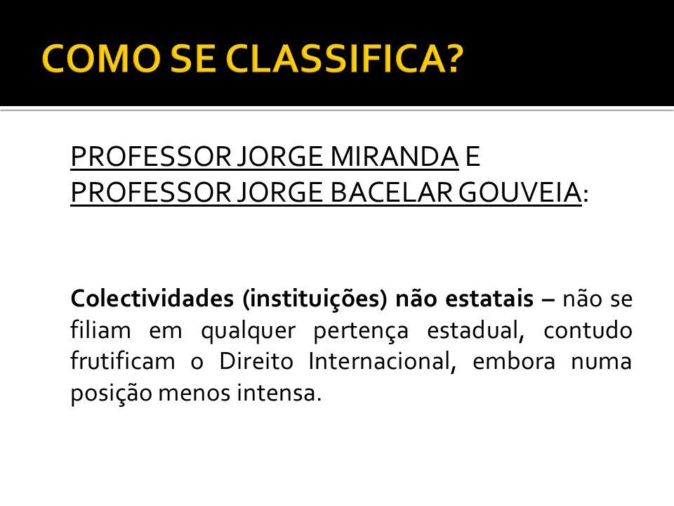PROFESSOR JORGE MIRANDA E PROFESSOR JORGE BACELAR GOUVEIA: Colectividades (instituições) não estatais – não se filiam em qualquer pertença estadual, c