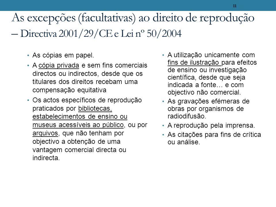 11 As excepções (facultativas) ao direito de reprodução – Directiva 2001/29/CE e Lei nº 50/2004 As cópias em papel. A cópia privada e sem fins comerci