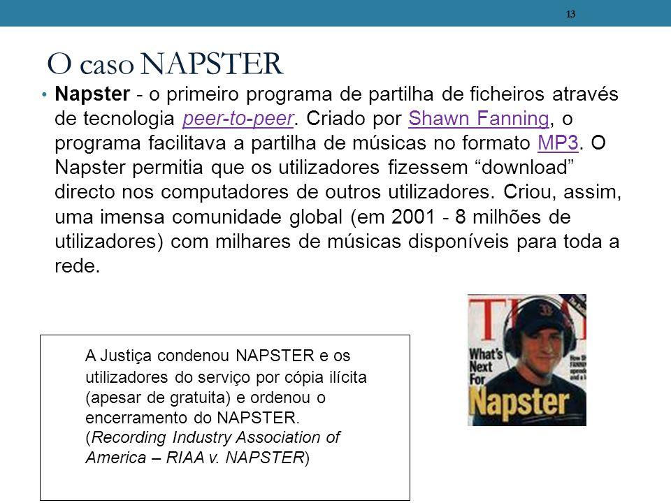 13 O caso NAPSTER Napster - o primeiro programa de partilha de ficheiros através de tecnologia peer-to-peer. Criado por Shawn Fanning, o programa faci