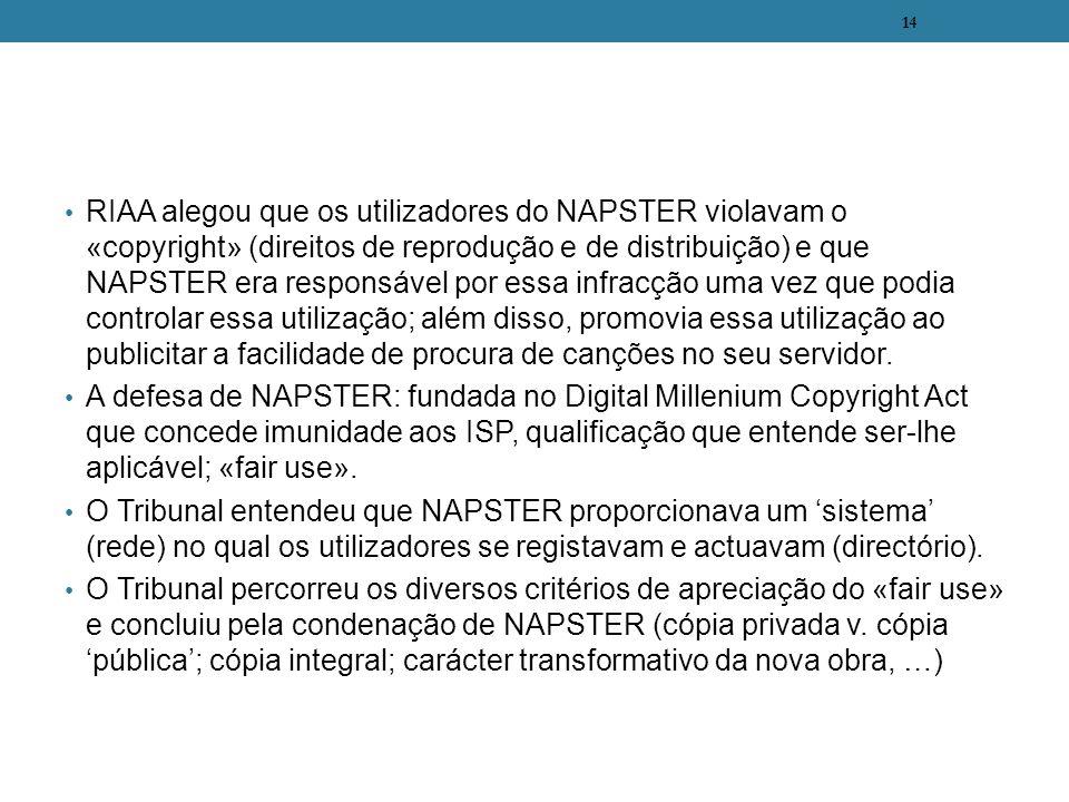 RIAA alegou que os utilizadores do NAPSTER violavam o «copyright» (direitos de reprodução e de distribuição) e que NAPSTER era responsável por essa in