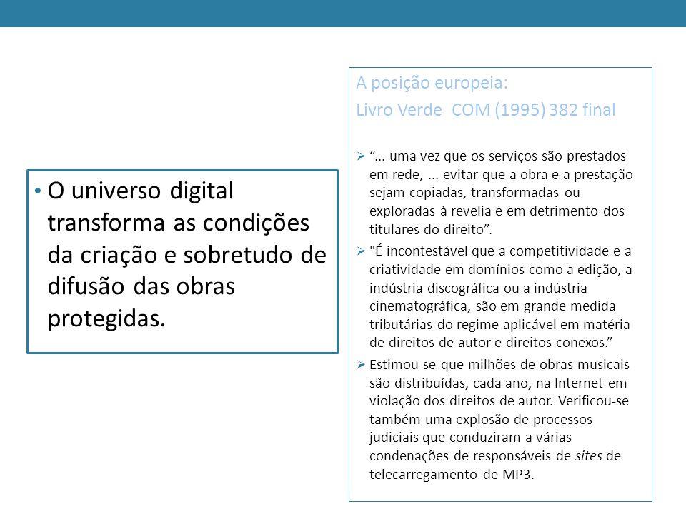 O universo digital transforma as condições da criação e sobretudo de difusão das obras protegidas. A posição europeia: Livro Verde COM (1995) 382 fina