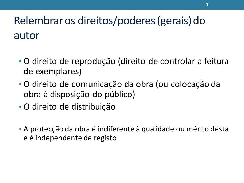 Relembrar os direitos/poderes (gerais) do autor O direito de reprodução (direito de controlar a feitura de exemplares) O direito de comunicação da obr