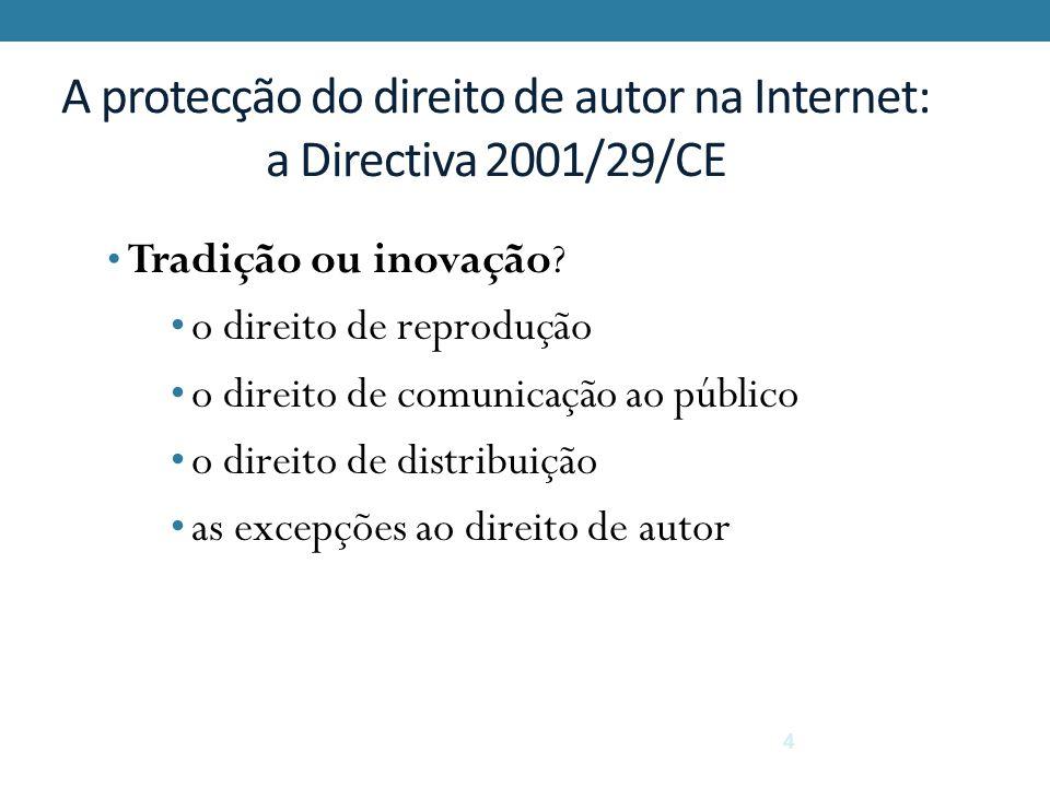4 A protecção do direito de autor na Internet: a Directiva 2001/29/CE Tradição ou inovação? o direito de reprodução o direito de comunicação ao públic