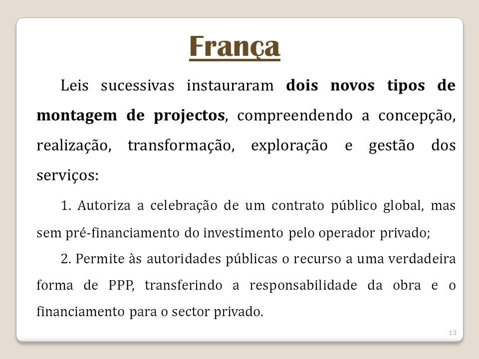 13 França Leis sucessivas instauraram dois novos tipos de montagem de projectos, compreendendo a concepção, realização, transformação, exploração e gestão dos serviços: 1.