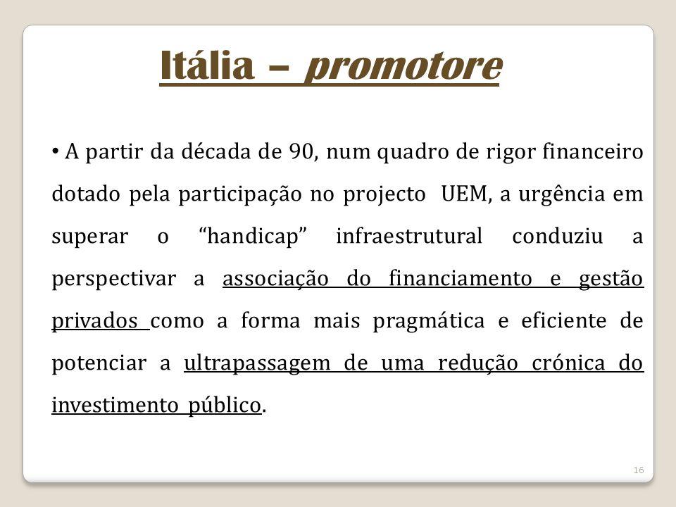 16 Itália – promotore A partir da década de 90, num quadro de rigor financeiro dotado pela participação no projecto UEM, a urgência em superar o handi