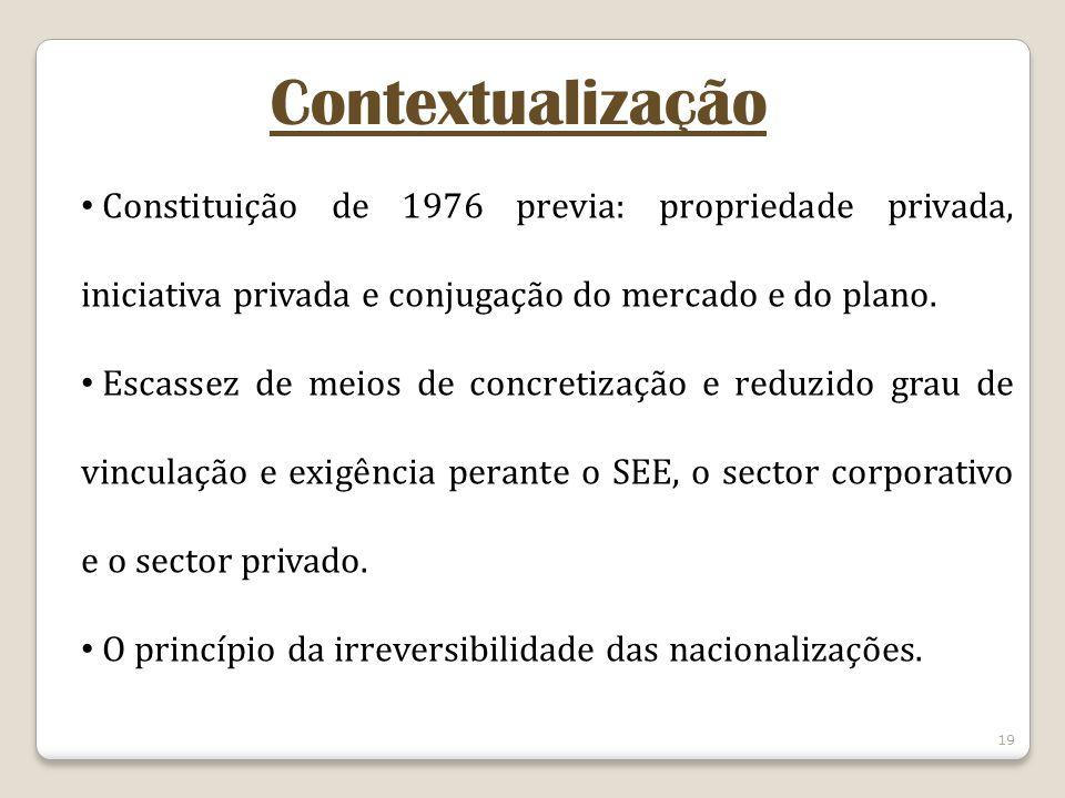 19 Contextualização Constituição de 1976 previa: propriedade privada, iniciativa privada e conjugação do mercado e do plano. Escassez de meios de conc
