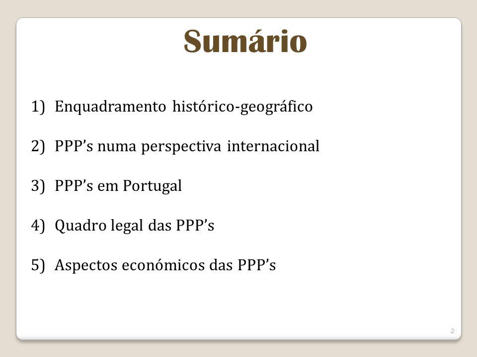 Sumário 1)Enquadramento histórico-geográfico 2)PPPs numa perspectiva internacional 3)PPPs em Portugal 4)Quadro legal das PPPs 5)Aspectos económicos das PPPs 2