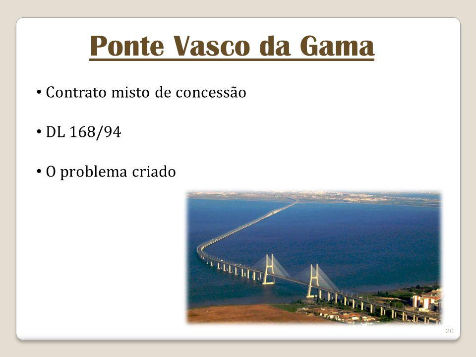 20 Ponte Vasco da Gama Contrato misto de concessão DL 168/94 O problema criado