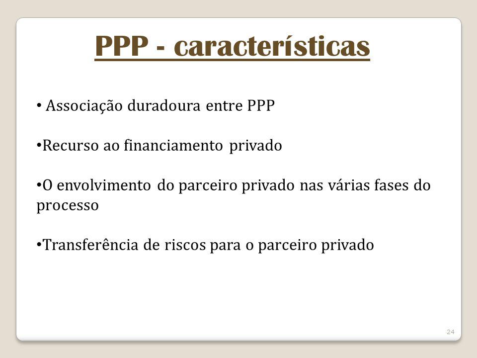 24 PPP - características Associação duradoura entre PPP Recurso ao financiamento privado O envolvimento do parceiro privado nas várias fases do proces