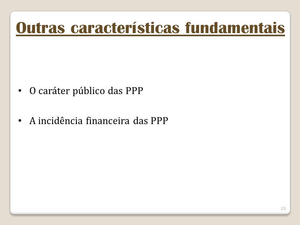 25 Outras características fundamentais O caráter público das PPP A incidência financeira das PPP