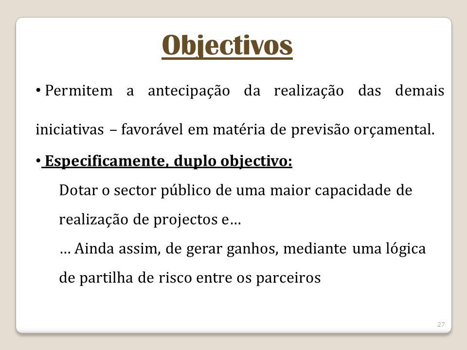 27 Objectivos Permitem a antecipação da realização das demais iniciativas – favorável em matéria de previsão orçamental. Especificamente, duplo object
