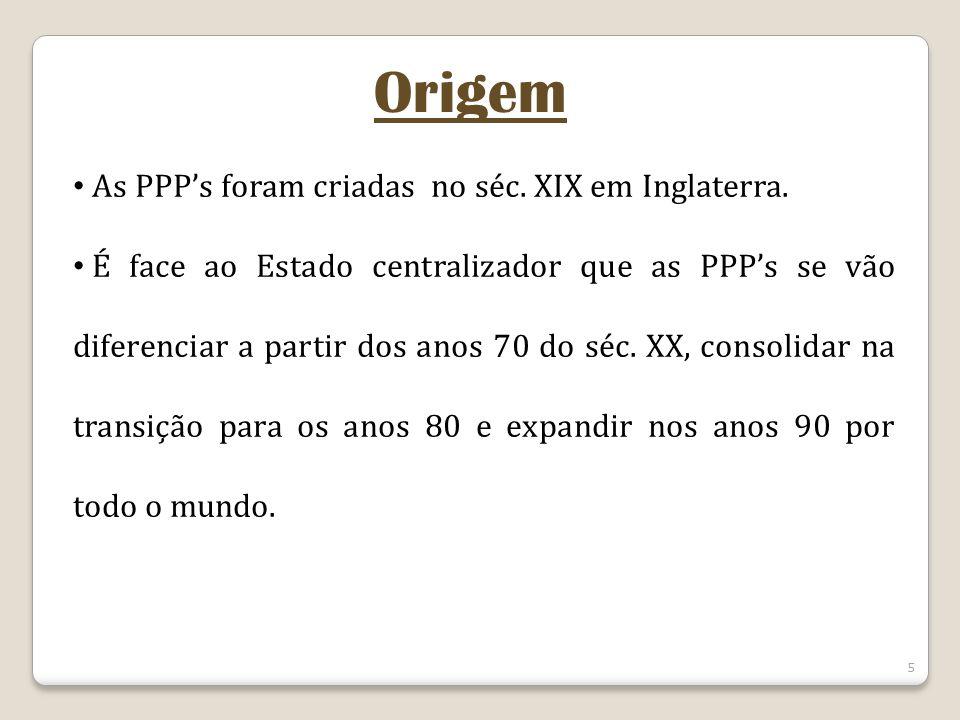 5 As PPPs foram criadas no séc. XIX em Inglaterra. É face ao Estado centralizador que as PPPs se vão diferenciar a partir dos anos 70 do séc. XX, cons