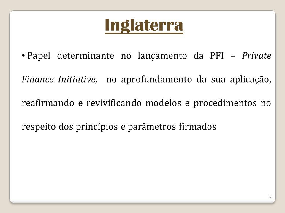 8 Inglaterra Papel determinante no lançamento da PFI – Private Finance Initiative, no aprofundamento da sua aplicação, reafirmando e revivificando modelos e procedimentos no respeito dos princípios e parâmetros firmados