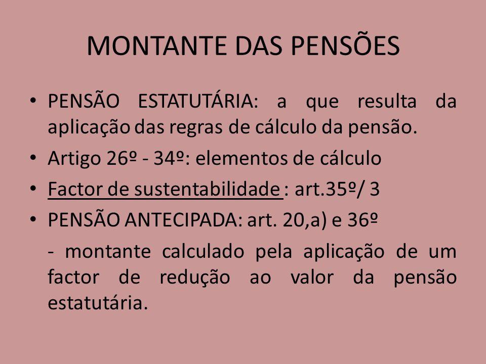 MONTANTE DAS PENSÕES PENSÃO ESTATUTÁRIA: a que resulta da aplicação das regras de cálculo da pensão. Artigo 26º - 34º: elementos de cálculo Factor de