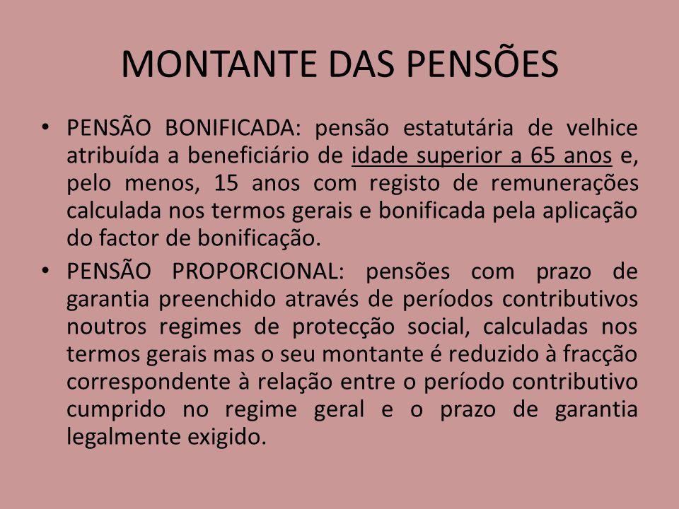 MONTANTE DAS PENSÕES PENSÃO BONIFICADA: pensão estatutária de velhice atribuída a beneficiário de idade superior a 65 anos e, pelo menos, 15 anos com