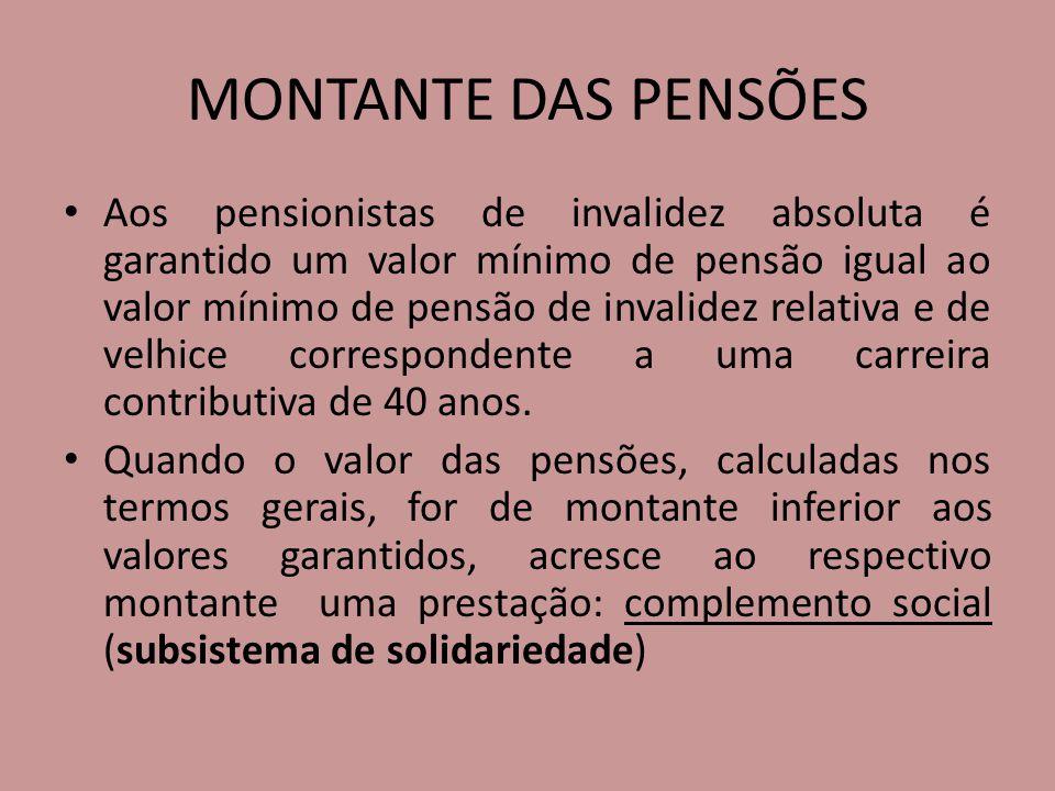 MONTANTE DAS PENSÕES Aos pensionistas de invalidez absoluta é garantido um valor mínimo de pensão igual ao valor mínimo de pensão de invalidez relativ