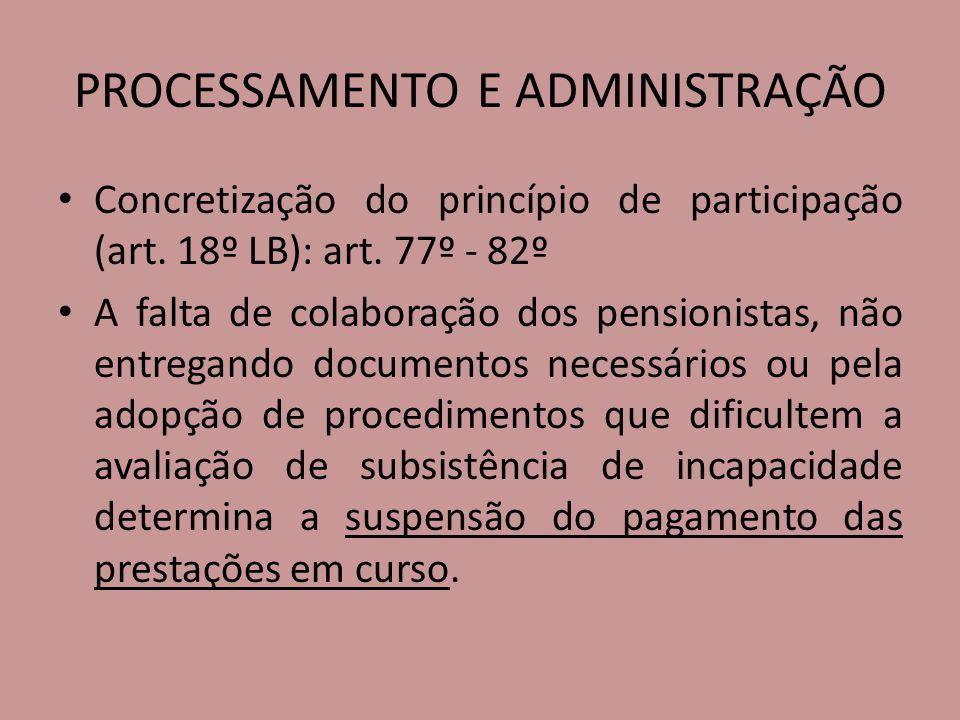 PROCESSAMENTO E ADMINISTRAÇÃO Concretização do princípio de participação (art. 18º LB): art. 77º - 82º A falta de colaboração dos pensionistas, não en