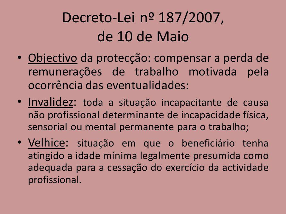 Decreto-Lei nº 187/2007, de 10 de Maio Objectivo da protecção: compensar a perda de remunerações de trabalho motivada pela ocorrência das eventualidad