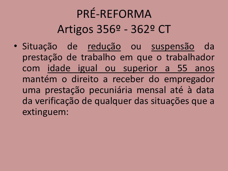 PRÉ-REFORMA Artigos 356º - 362º CT Situação de redução ou suspensão da prestação de trabalho em que o trabalhador com idade igual ou superior a 55 ano