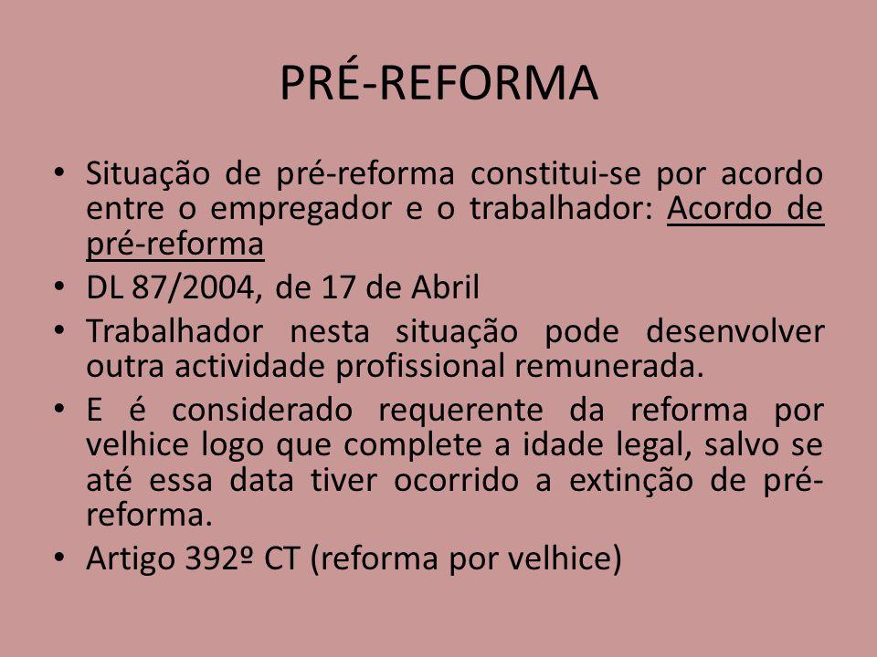 PRÉ-REFORMA Situação de pré-reforma constitui-se por acordo entre o empregador e o trabalhador: Acordo de pré-reforma DL 87/2004, de 17 de Abril Traba