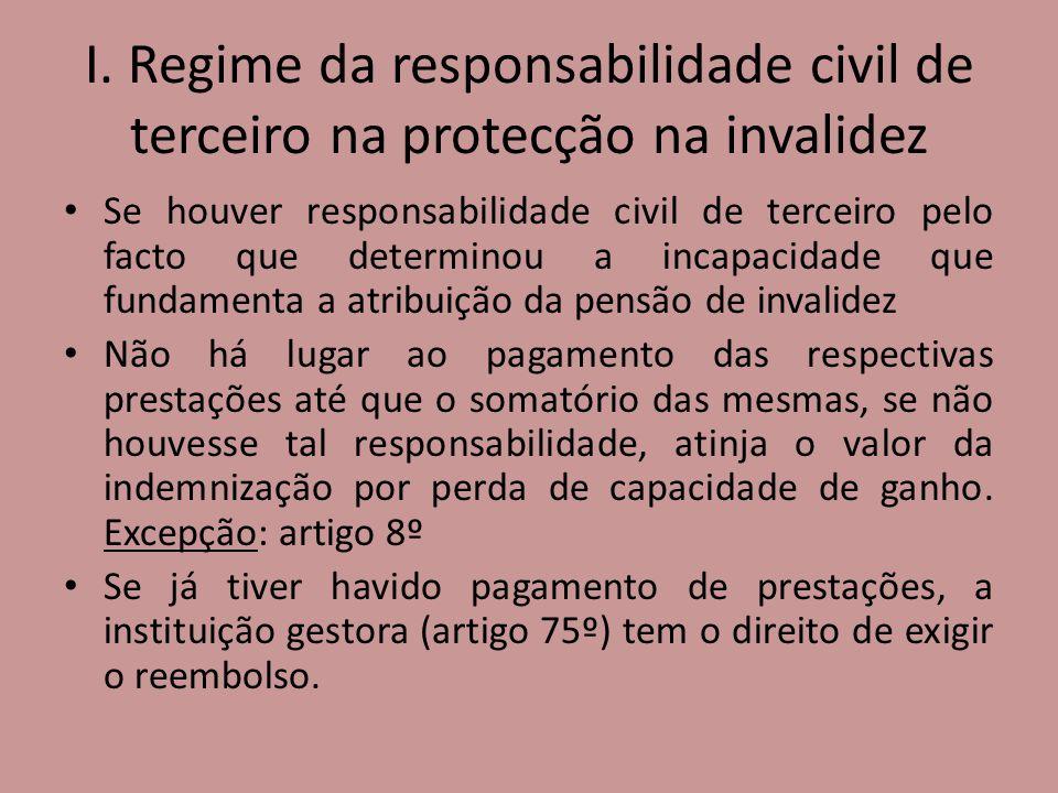 I. Regime da responsabilidade civil de terceiro na protecção na invalidez Se houver responsabilidade civil de terceiro pelo facto que determinou a inc