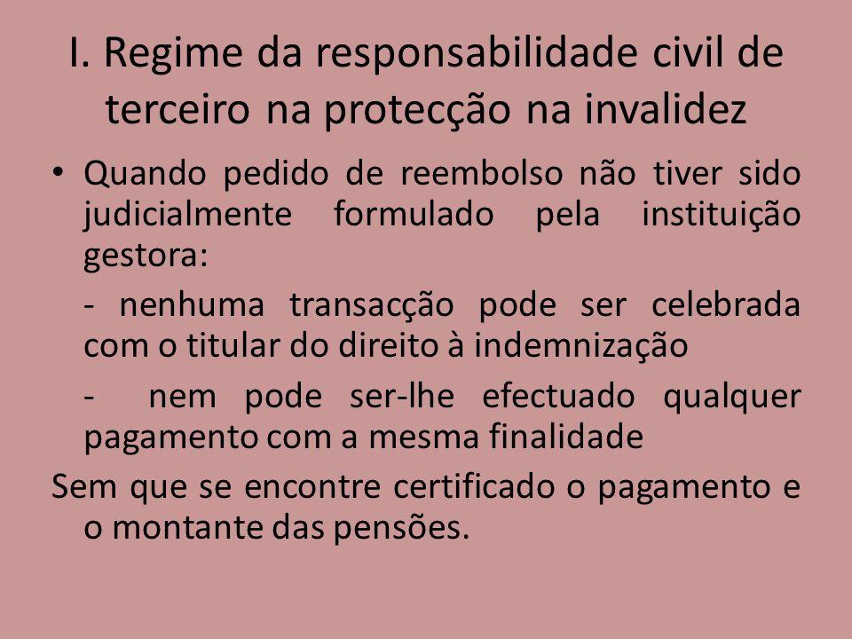 I. Regime da responsabilidade civil de terceiro na protecção na invalidez Quando pedido de reembolso não tiver sido judicialmente formulado pela insti