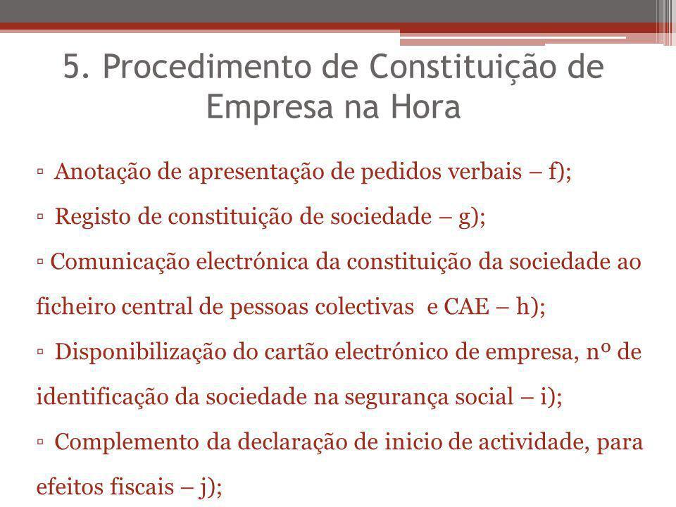 5. Procedimento de Constituição de Empresa na Hora Anotação de apresentação de pedidos verbais – f); Registo de constituição de sociedade – g); Comuni