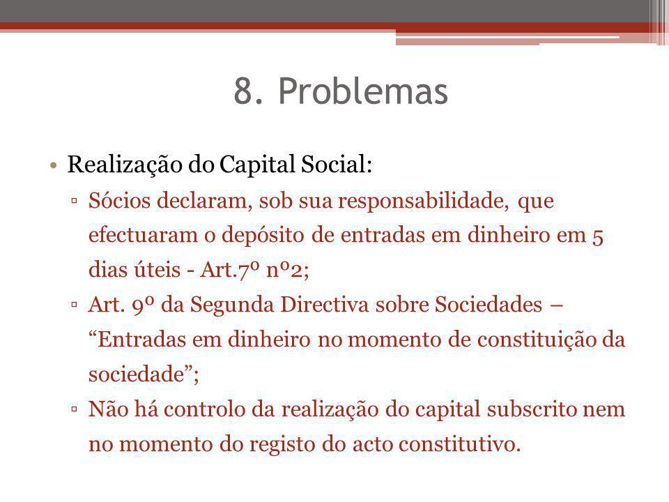 8. Problemas Realização do Capital Social: Sócios declaram, sob sua responsabilidade, que efectuaram o depósito de entradas em dinheiro em 5 dias útei