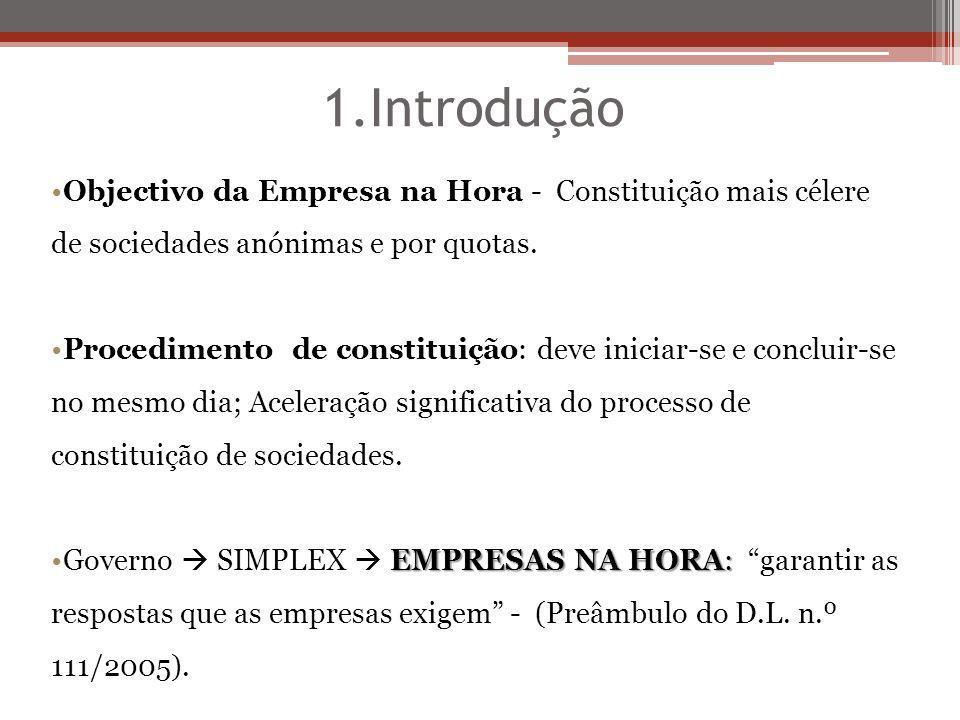 5.Procedimento de Constituição de Empresa na Hora Completado este procedimento – Art.