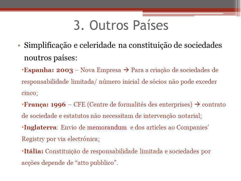 3. Outros Países Simplificação e celeridade na constituição de sociedades noutros países: Espanha: 2003 – Nova Empresa Para a criação de sociedades de