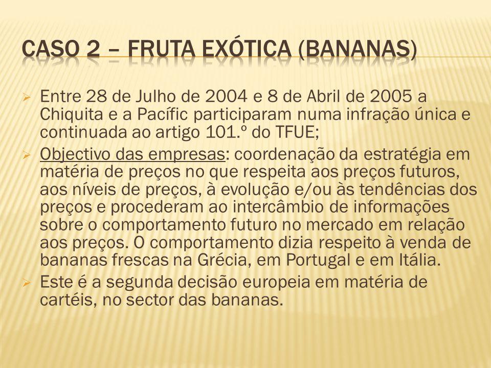Entre 28 de Julho de 2004 e 8 de Abril de 2005 a Chiquita e a Pacífic participaram numa infração única e continuada ao artigo 101.º do TFUE; Objectivo das empresas: coordenação da estratégia em matéria de preços no que respeita aos preços futuros, aos níveis de preços, à evolução e/ou às tendências dos preços e procederam ao intercâmbio de informações sobre o comportamento futuro no mercado em relação aos preços.