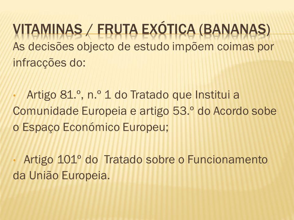 As decisões objecto de estudo impõem coimas por infracções do: Artigo 81.º, n.º 1 do Tratado que Institui a Comunidade Europeia e artigo 53.º do Acordo sobe o Espaço Económico Europeu; Artigo 101º do Tratado sobre o Funcionamento da União Europeia.