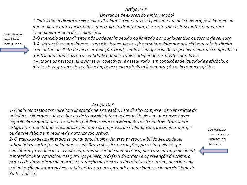 Artigo 37.º (Liberdade de expressão e informação) 1-Todos têm o direito de exprimir e divulgar livremente o seu pensamento pela palavra, pela imagem o