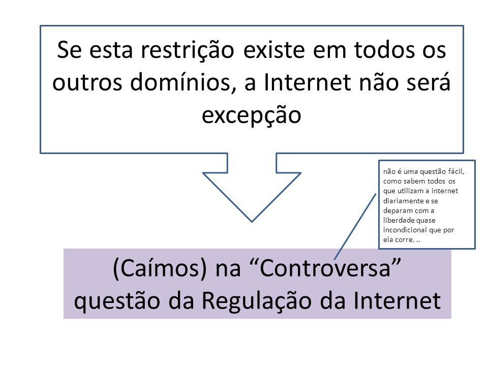 Se esta restrição existe em todos os outros domínios, a Internet não será excepção (Caímos) na Controversa questão da Regulação da Internet não é uma