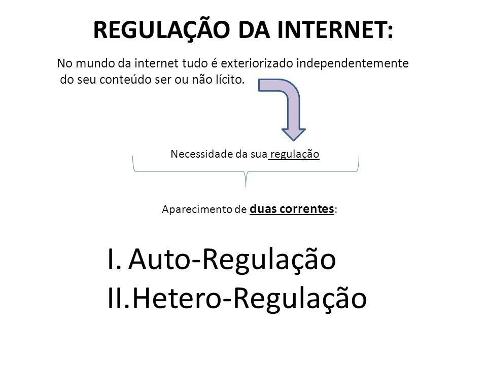 REGULAÇÃO DA INTERNET: No mundo da internet tudo é exteriorizado independentemente do seu conteúdo ser ou não lícito. Necessidade da sua regulação Apa