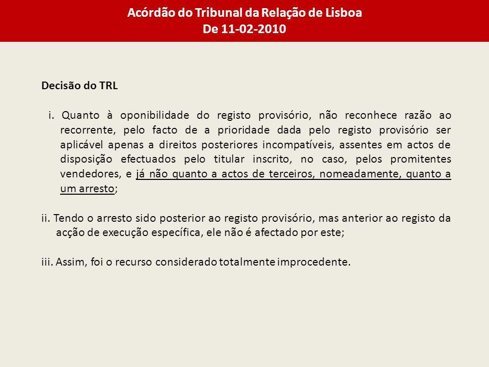 Acórdão do Tribunal da Relação de Lisboa De 11-02-2010 Decisão do TRL i.