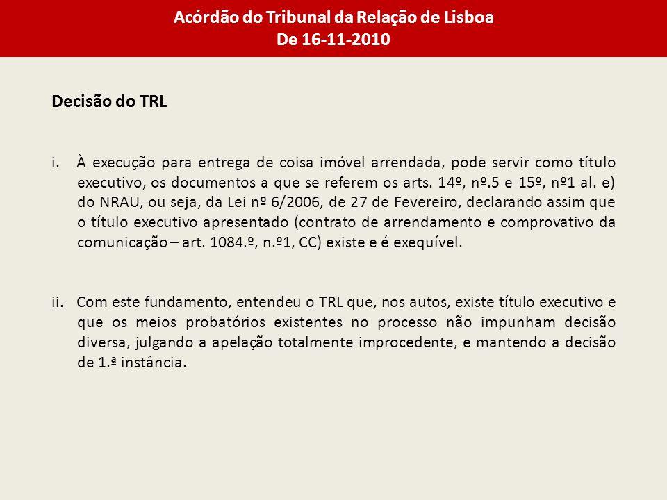 Acórdão do Tribunal da Relação de Lisboa De 16-11-2010 Decisão do TRL i.