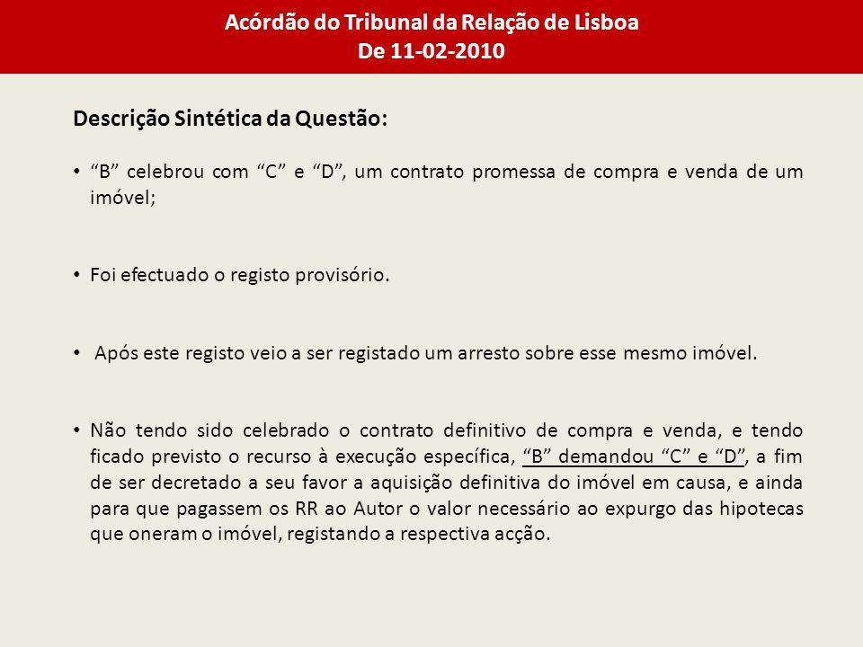 Acórdão do Tribunal da Relação de Lisboa De 11-02-2010 Descrição Sintética da Questão: B celebrou com C e D, um contrato promessa de compra e venda de um imóvel; Foi efectuado o registo provisório.