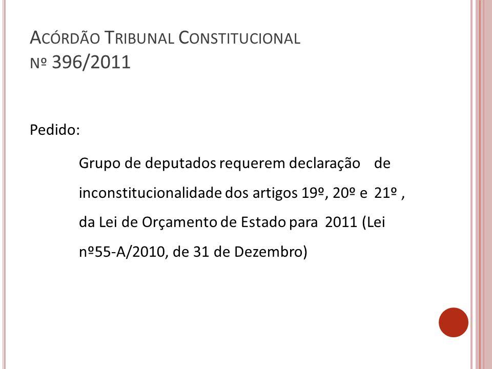 A CÓRDÃO T RIBUNAL C ONSTITUCIONAL Nº 396/2011 Pedido: Grupo de deputados requerem declaração de inconstitucionalidade dos artigos 19º, 20º e 21º, da Lei de Orçamento de Estado para 2011 (Lei nº55-A/2010, de 31 de Dezembro)