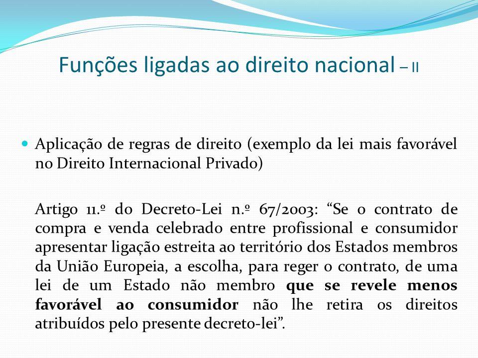 Funções ligadas ao direito nacional – II Aplicação de regras de direito (exemplo da lei mais favorável no Direito Internacional Privado) Artigo 11.º d