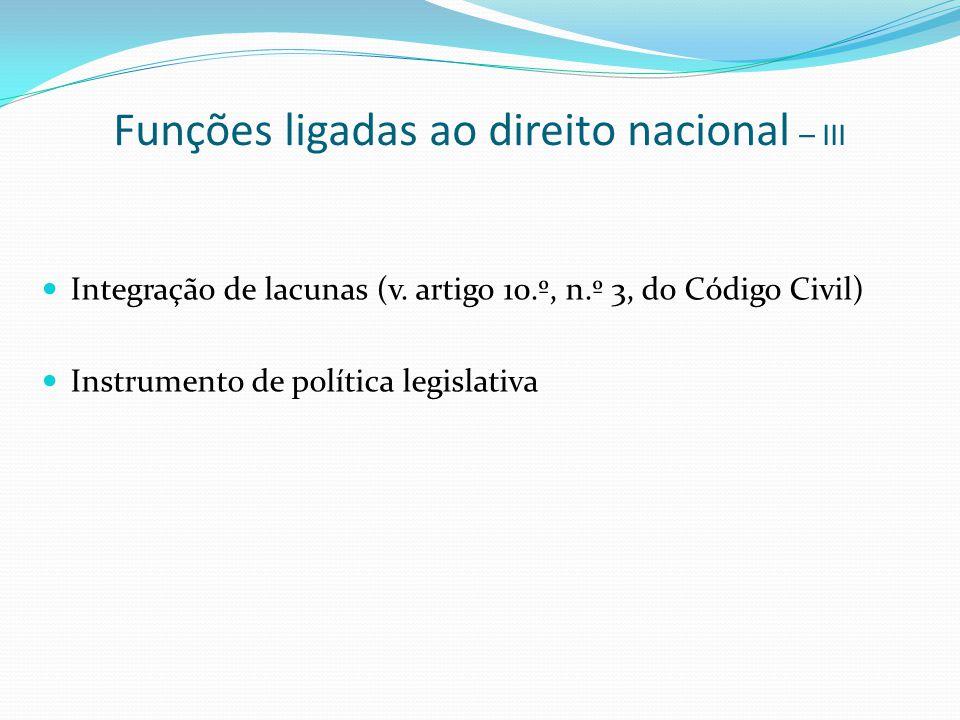 Funções ligadas ao direito nacional – III Integração de lacunas (v. artigo 10.º, n.º 3, do Código Civil) Instrumento de política legislativa