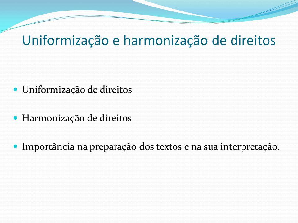 Uniformização e harmonização de direitos Uniformização de direitos Harmonização de direitos Importância na preparação dos textos e na sua interpretaçã
