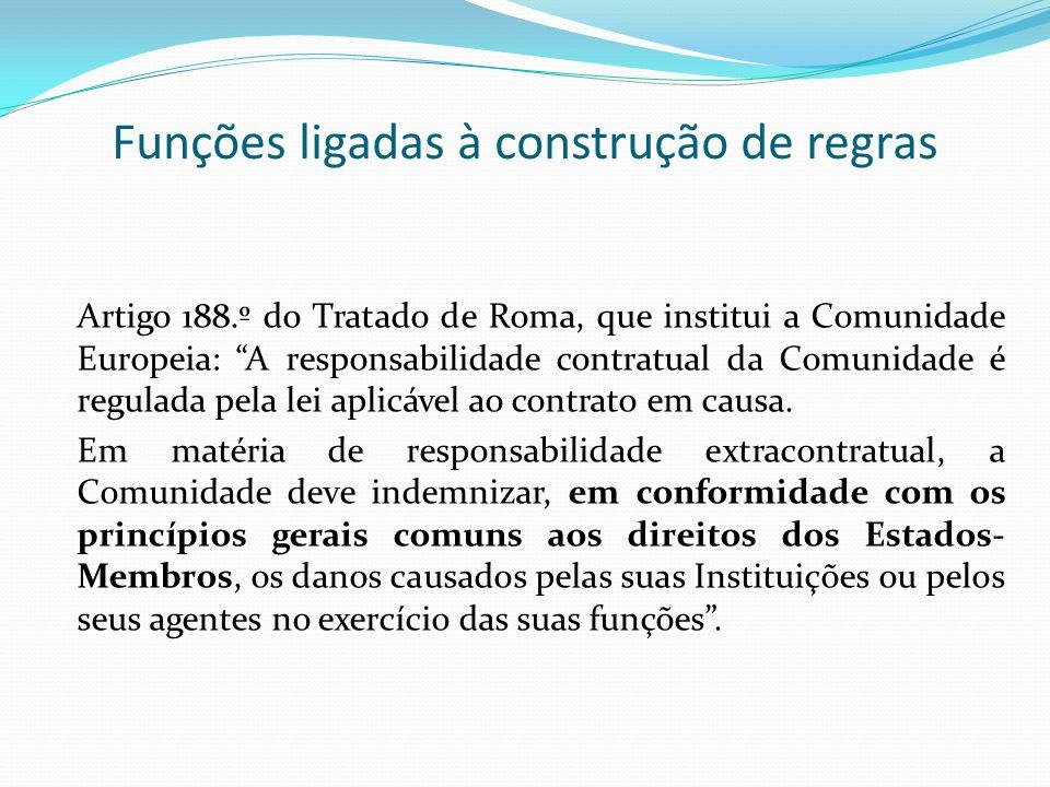 Funções ligadas à construção de regras Artigo 188.º do Tratado de Roma, que institui a Comunidade Europeia: A responsabilidade contratual da Comunidad