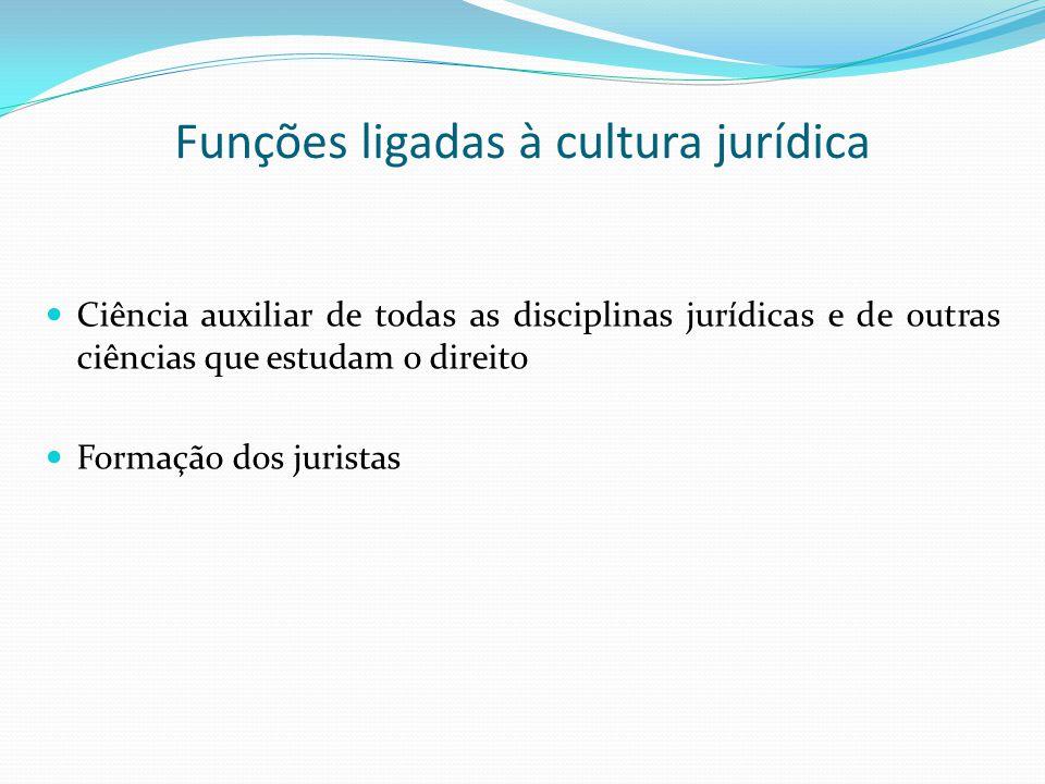 Funções ligadas à cultura jurídica Ciência auxiliar de todas as disciplinas jurídicas e de outras ciências que estudam o direito Formação dos juristas