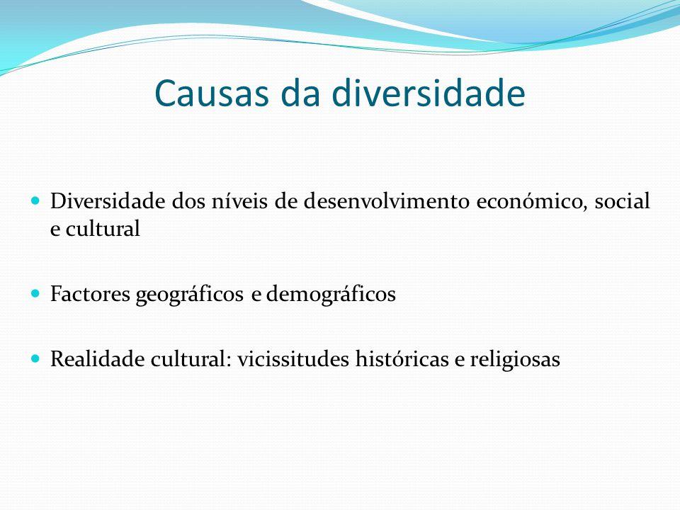 Causas da diversidade Diversidade dos níveis de desenvolvimento económico, social e cultural Factores geográficos e demográficos Realidade cultural: v