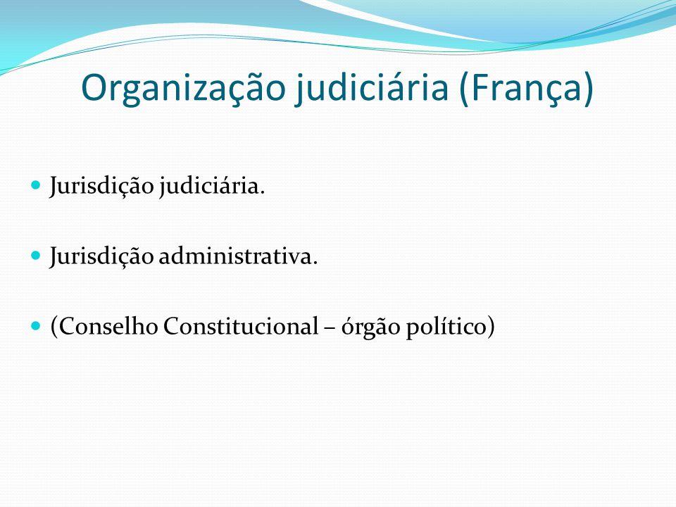 Organização judiciária (França) Jurisdição judiciária. Jurisdição administrativa. (Conselho Constitucional – órgão político)