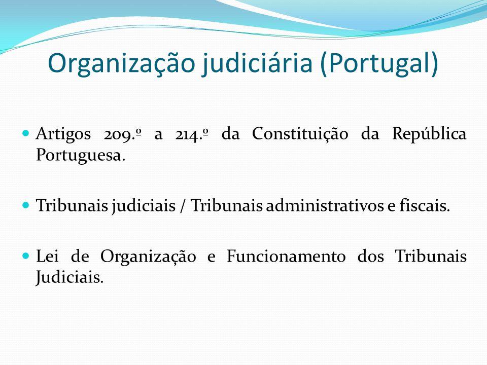Organização judiciária (Portugal) Artigos 209.º a 214.º da Constituição da República Portuguesa. Tribunais judiciais / Tribunais administrativos e fis