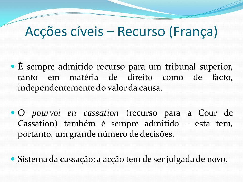 Acções cíveis – Recurso (França) É sempre admitido recurso para um tribunal superior, tanto em matéria de direito como de facto, independentemente do