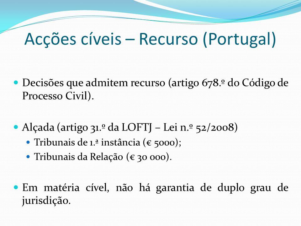 Acções cíveis – Recurso (Portugal) Decisões que admitem recurso (artigo 678.º do Código de Processo Civil). Alçada (artigo 31.º da LOFTJ – Lei n.º 52/